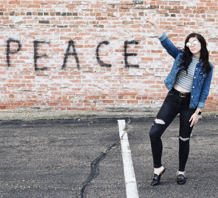 Peace, Leather Mules, & Denim